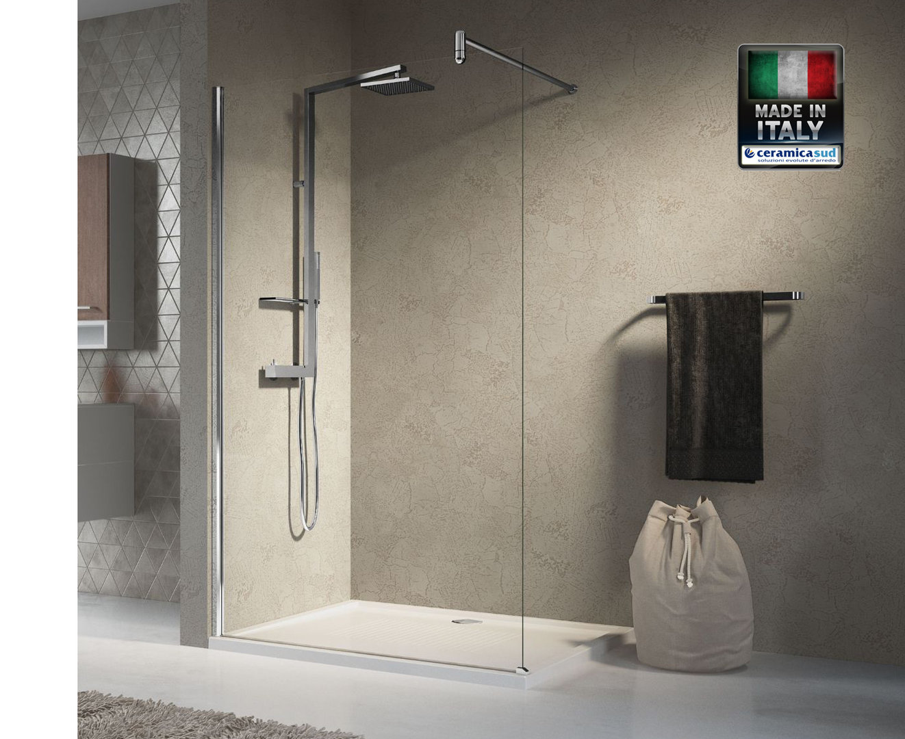 Box Doccia Walk In Lunes H - Made in Italy Novellini 140 cm.