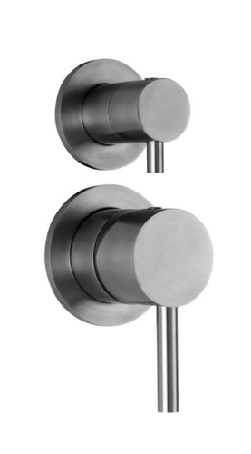 Stainless steel built-in shower mixer with diverter STEEL015 - FIRST CHOICE