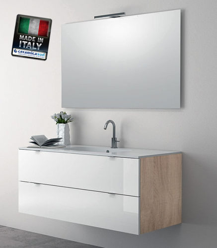 "Suspended bathroom furniture 120 cm Wood white, First Choice Guaranteed ""Italian"""