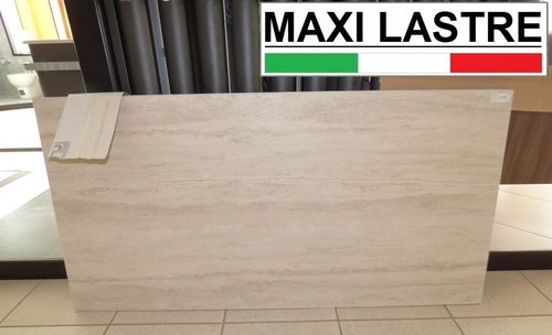 STOCK Maxi Italian slab effect light Roman Travertine 152 x 75 cm.