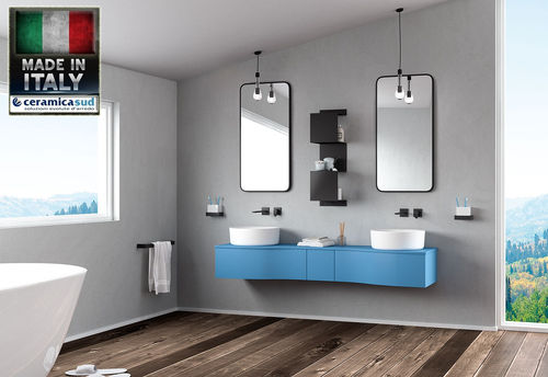 Bathroom cabinet suspended double light blue washbasin 185 cm. - TOP QUALITY