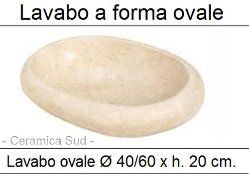 Lavabo a forma ovale in marmo avorio / beige Ø 40 - 60 x h. 20 cm.