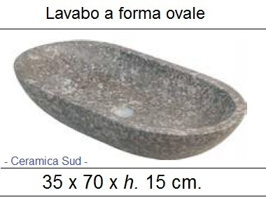 Lavabo a forma ovale in marmo fumè 35 x 70 x h. 15 cm.