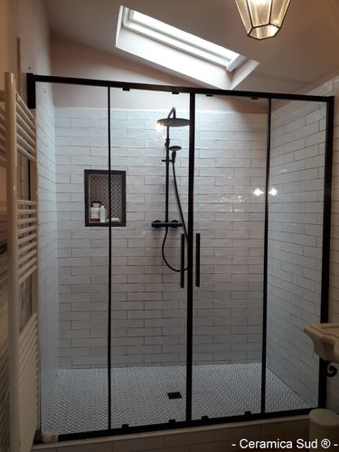 Shower enclosure niche black design 157.5 - 158.5 - 159.5 - 160.5 cm.