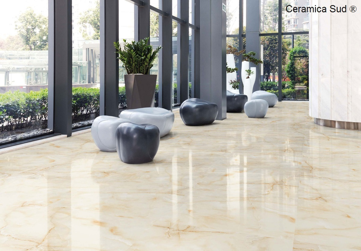 Pavimento gres lucido effetto Marmo Onice Gold 80 x 80 cm.